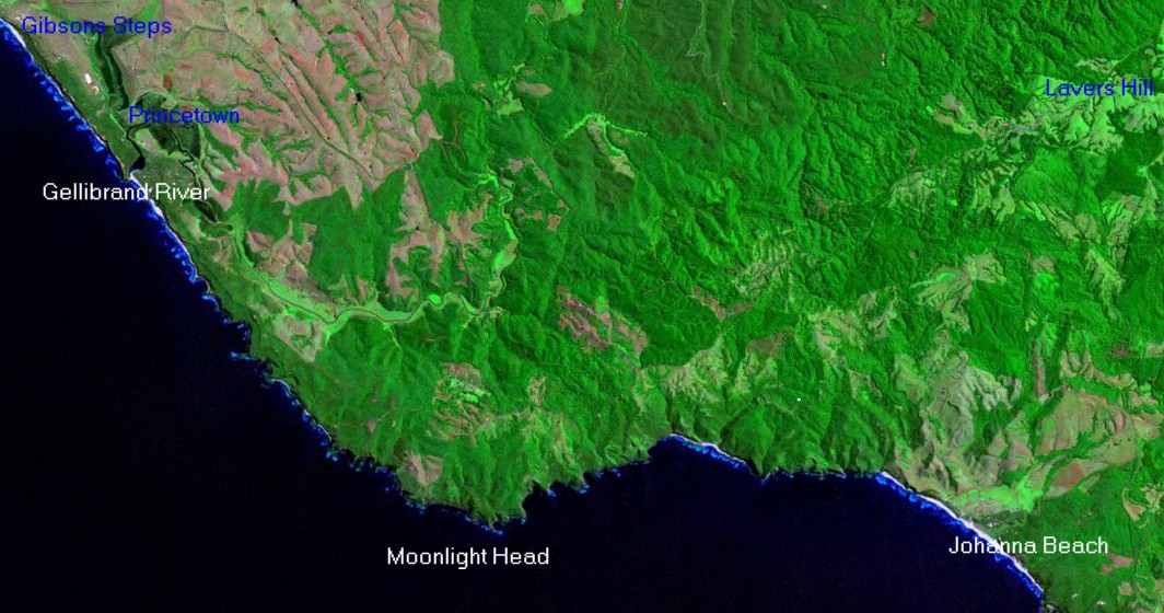 Great Ocean Road Satellite Image Lavers Hill to Gibsons Steps
